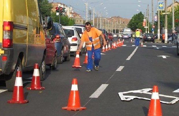 Reparaţii pe strada Gheorghe Şincai