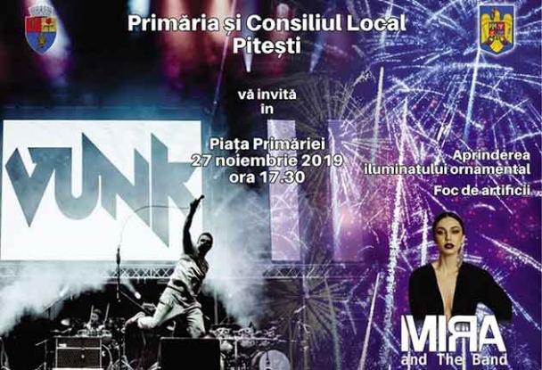 Mâine: concert Vunk și Mira and Band în Piața Primăriei din Pitești