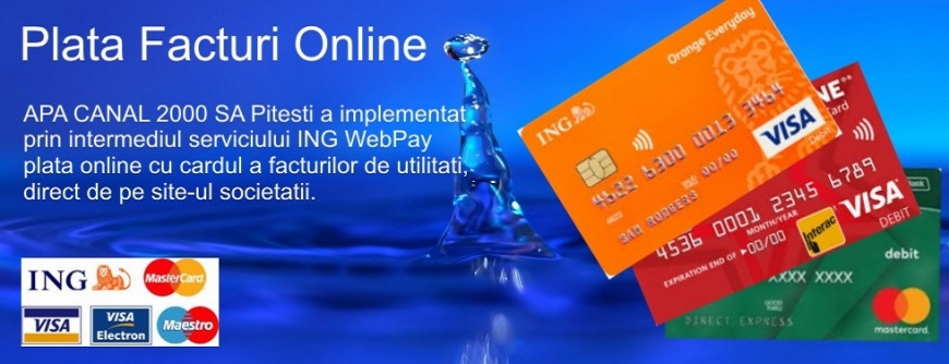 Plata online cu cardul a facturilor emise de SC Apă Canal 2000 SA