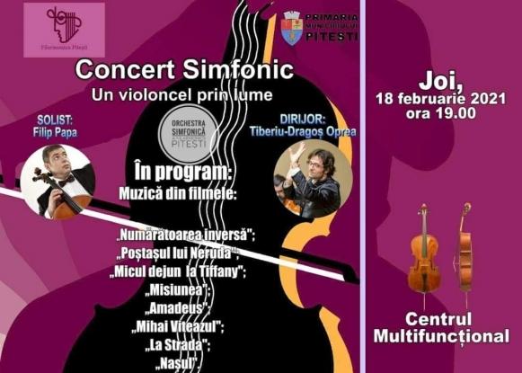 Un violoncel prin lume, un violoncel la Pitești - concert cu muzică de film, la Filarmonica Pitești