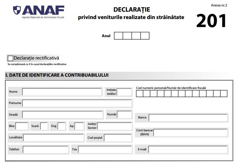 Cine are obligaţia depunerii formularului 201
