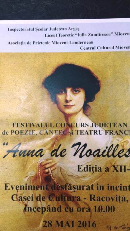 """O noua editie a festivalului """"Anna de Noailles"""" la Mioveni"""