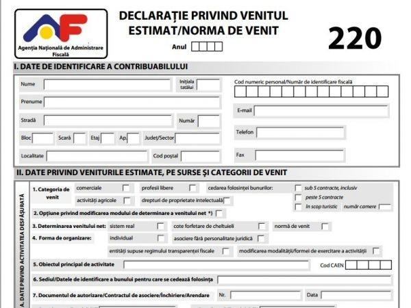 În 30 de zile de la semnarea contractului de închiriere trebuie depusă la ANAF Declaratia 220