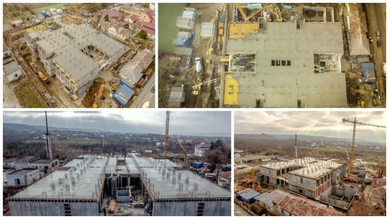 """Noi imagini cu stadiul lucrărilor la spitalul """"Sfântul Spiridon"""" Mioveni"""