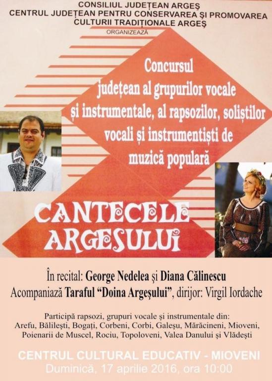 """Concursul """"Cântecele Argeșului și Muscelului"""" se va desfășura la Mioveni"""