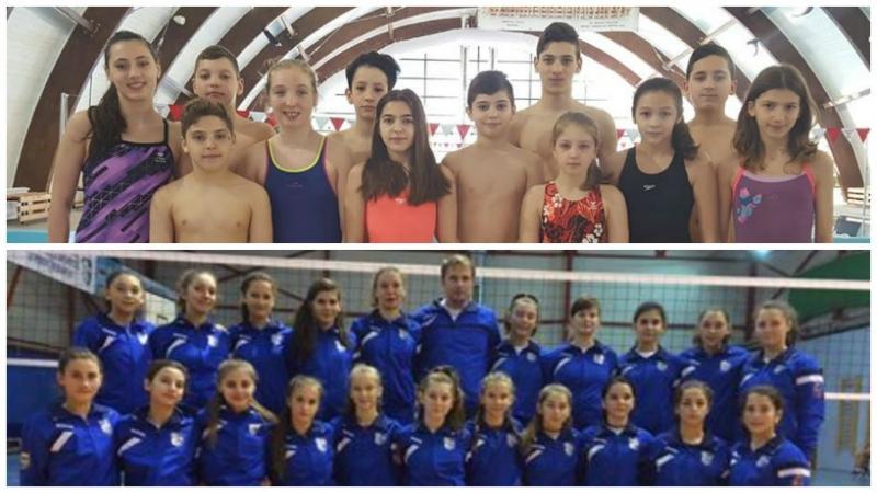Voleibalistele şi înotătorii, în competiţii