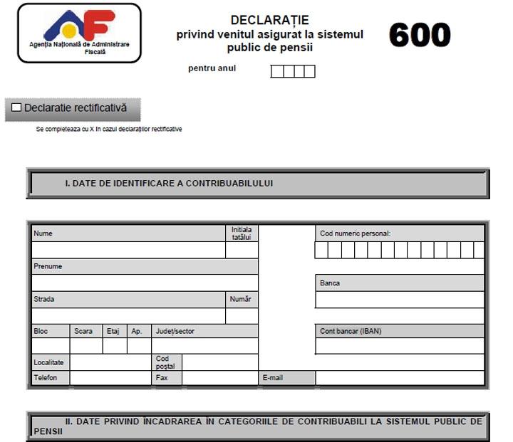 CINE are obligaţia depunerii formularului 600?