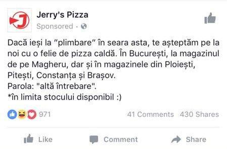 Pizza caldă pentru protestatari. Află parola!