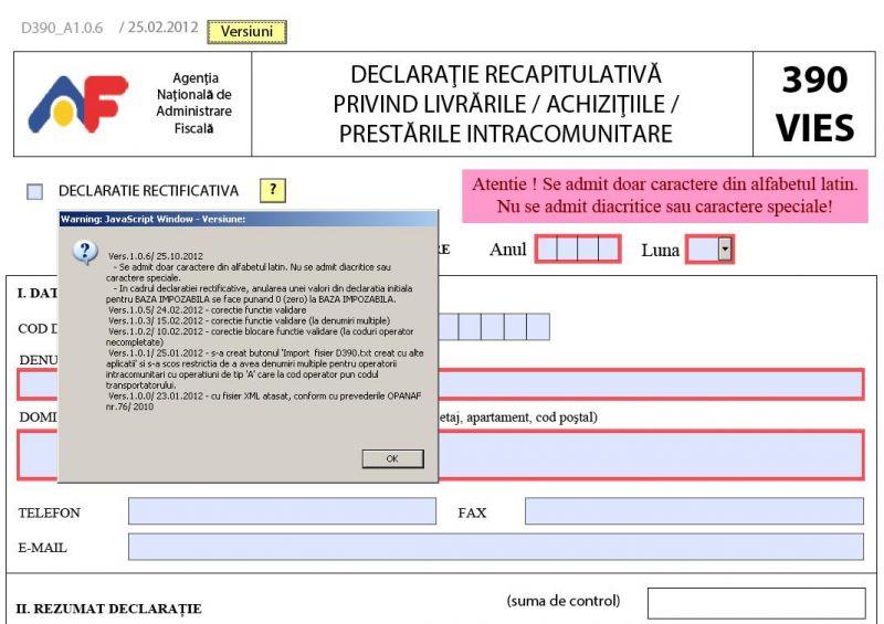 Lămuriri de la ANAF cu privire la formularul 390