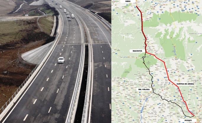 Alba-neagra cu autostrada Piteşti-Sibiu