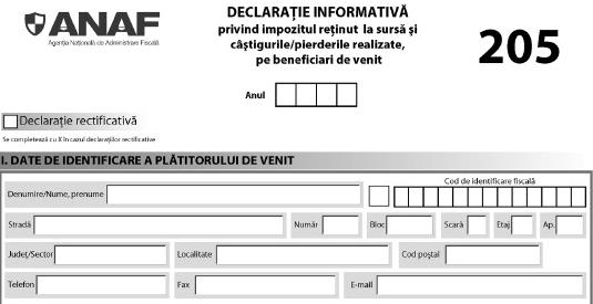28 februarie - termenul limită pentru depunerea D 205