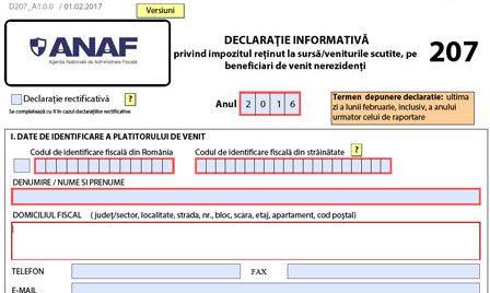 Precizări ANAF referitoare la Formularul 207