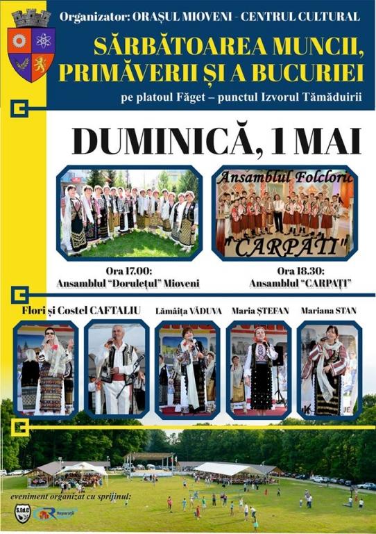 """""""Sărbătoarea Muncii, Primăverii și a Bucuriei"""":Muzică şi voie bună la Mioveni"""