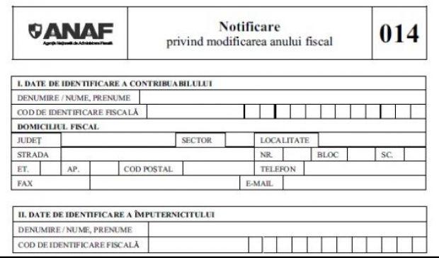"""Formularul 014 """"Notificare privind modificarea anului fiscal"""" a fost modificat"""