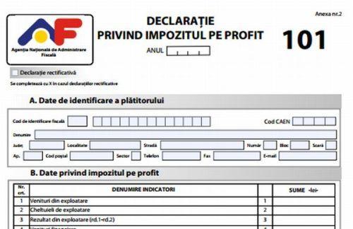 """Precizări privind depunerea  formularului 101: """"Declaraţie privind impozitul pe  profit """" pentru anul 2017"""