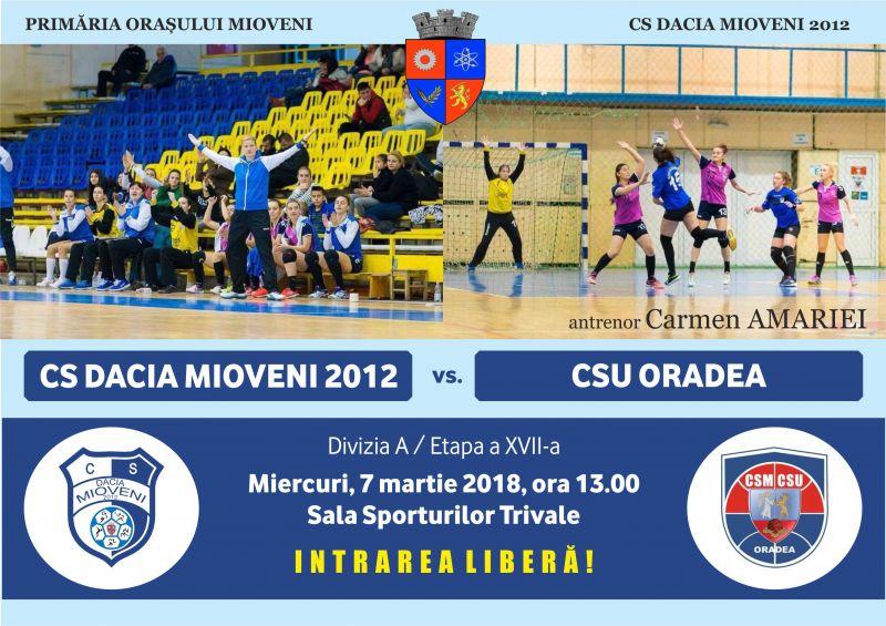 Handbalistele din Mioveni, partidă importantă cu CSU Oradea