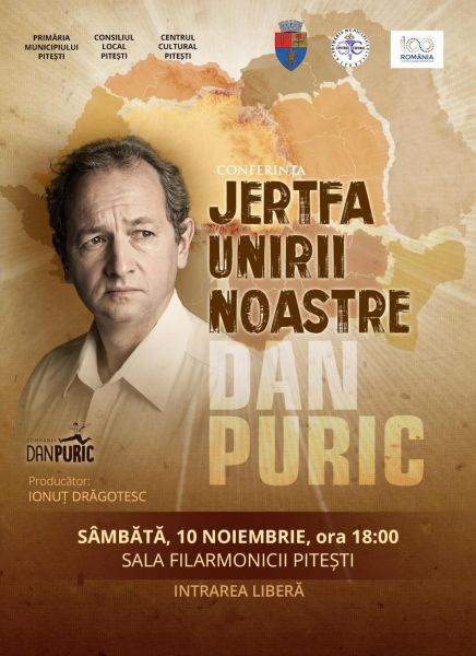 Dan Puric susține o prelegere la Pitești – Intrarea liberă!