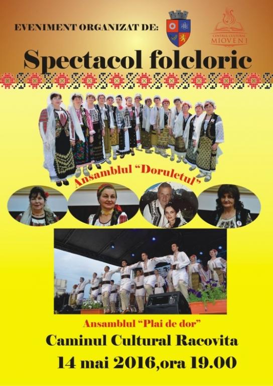 Spectacol folcloric la Casa de Cultură Racoviţa