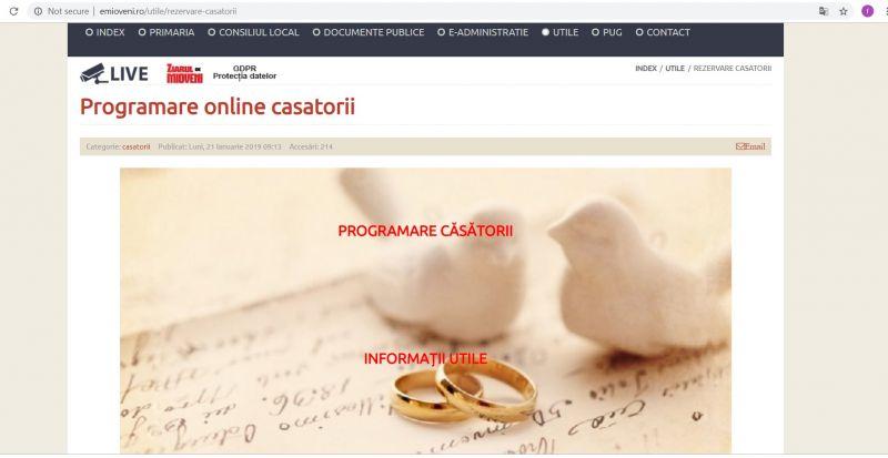 Programare online pentru căsătorii, la Primăria Mioveni